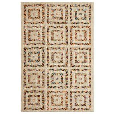 Rainbow Squares Cream 8 ft. x 10 ft. Area Rug