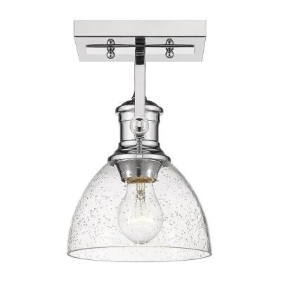 Hines 7 in. Chrome with Seeded Glass 1-Light Semi-Flush Mount