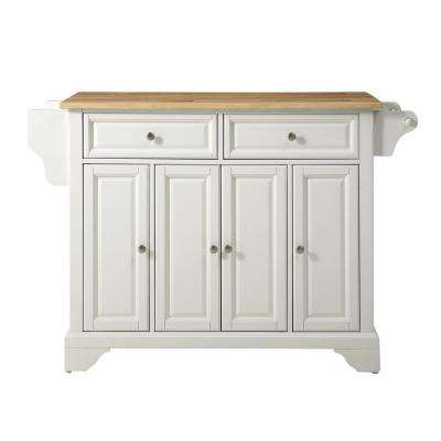 Lafayette White Kitchen Island with Wood Top