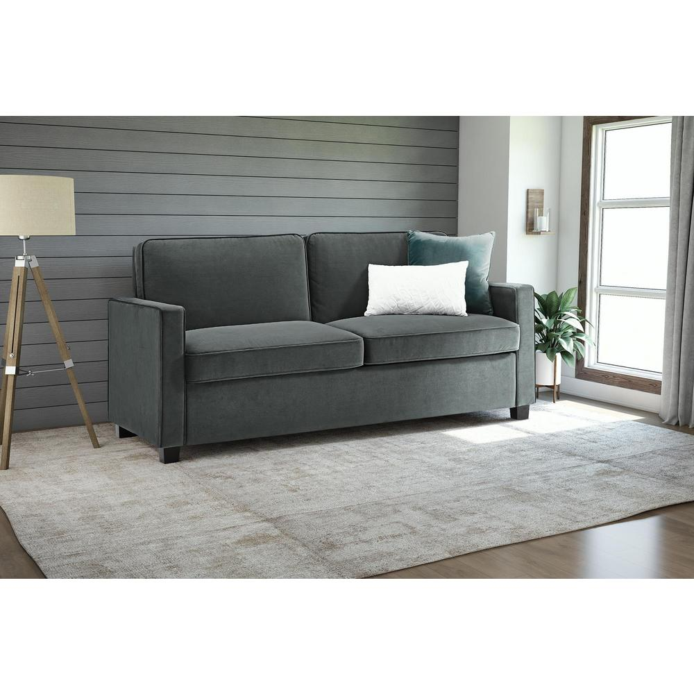 Charmant DHP Casey Queen Size Grey Velvet Sleeper Sofa