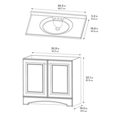 36.50 in. W x 18.68 in. D Bath Vanity in White with Cultured Marble Vanity Top in White with White Basin