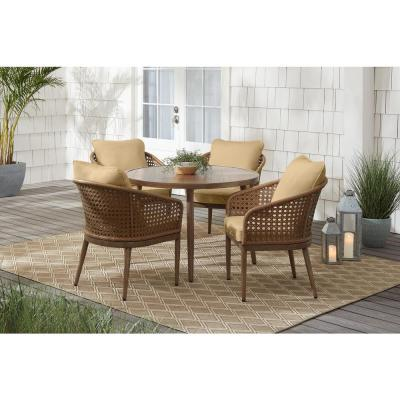 Coral Vista 5-Piece Brown Wicker and Steel Outdoor Patio Dining Set with Sunbrella Beige Tan Cushions