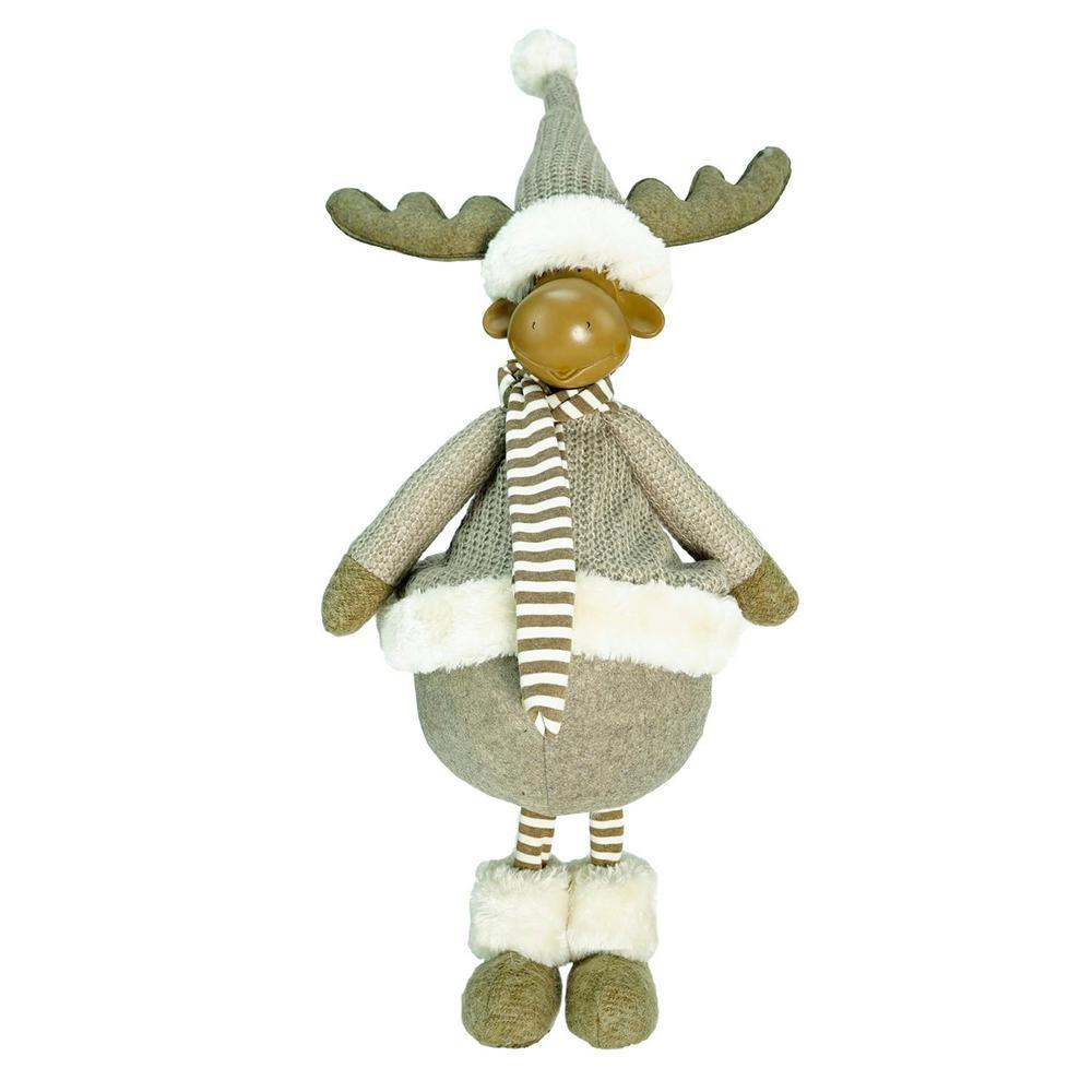 24.75 in. Decorative Standing Beige Moose Christmas Table Top Figure
