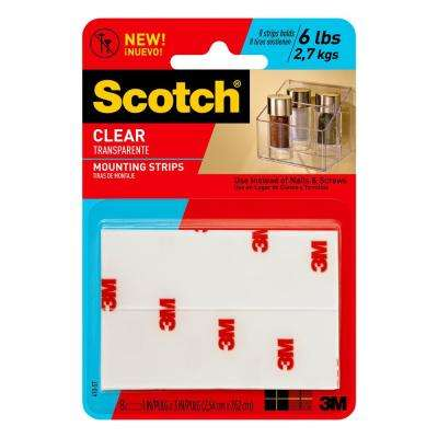 Scotch 1 in. x 3 in. Permanent Double Sided Clear Mounting Strips (8-Pack)