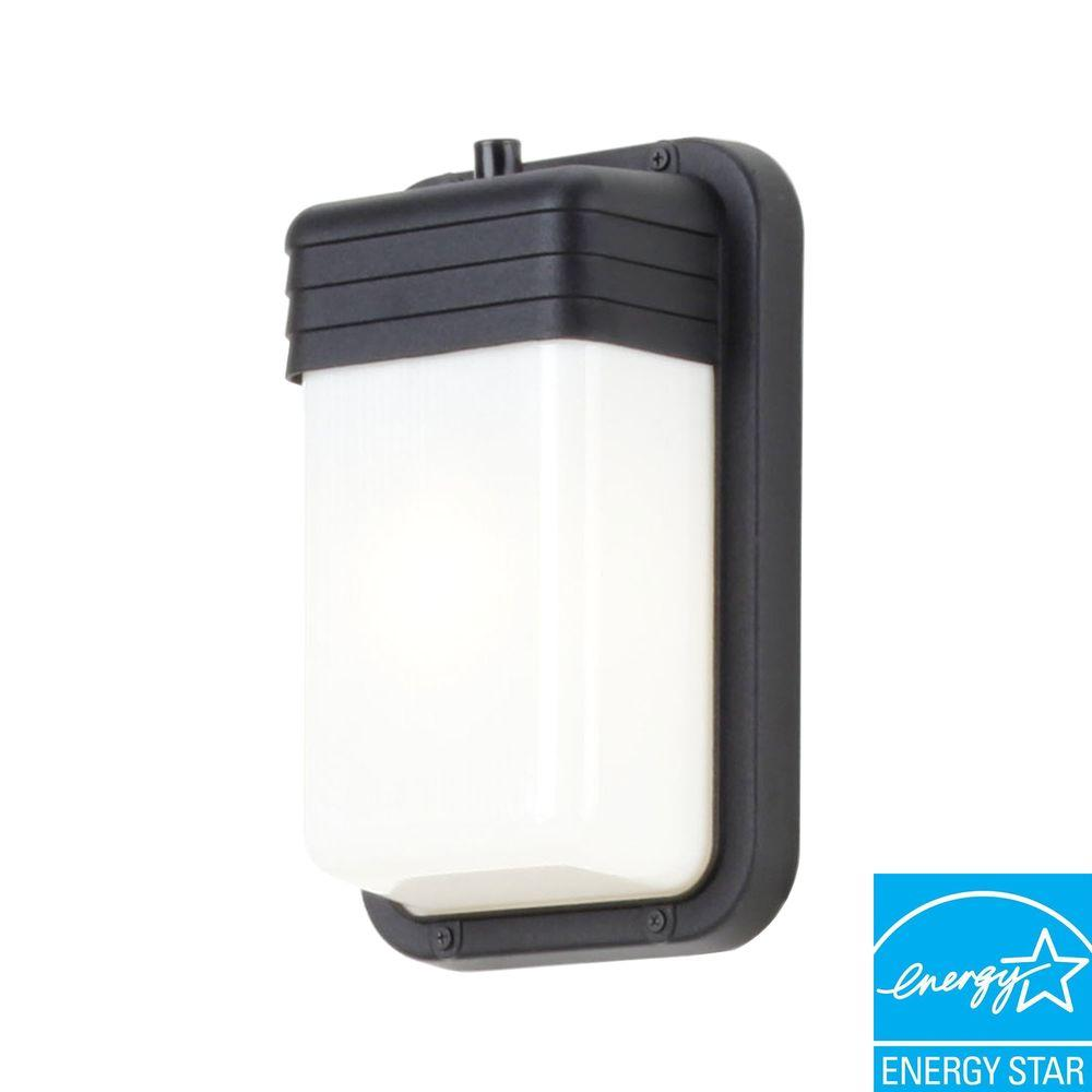 Efficient Lighting Timeless Wall-Mount Outdoor Powder-Coat Black Sconce with Bulbs-DISCONTINUED