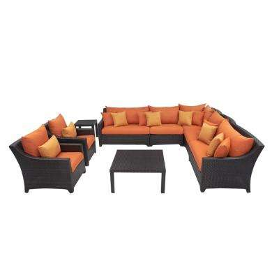 Deco 9-Piece Patio Sectional Seating Set with Tikka Orange Cushions