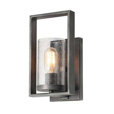 1-Light Gray Seeded Glass Bathroom Wall Lights Vanity Bath Light