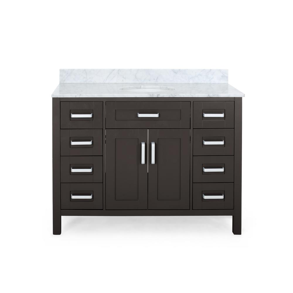 Noble House Greysen 48 in. W x 22 in. D Bath Vanity with Carrara Marble Vanity Top in Brown with White Basin