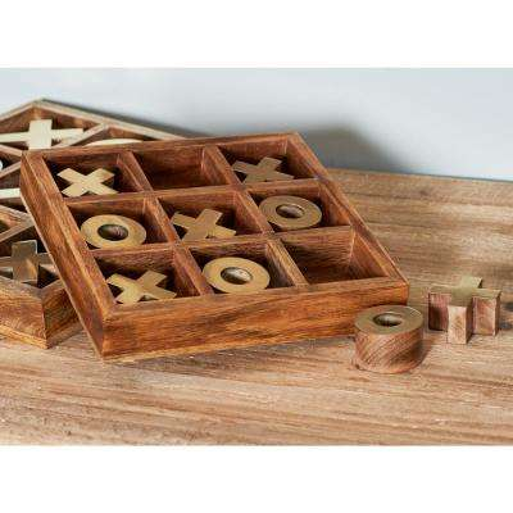 Brown Wood and Aluminum Tic Tac Toe Set