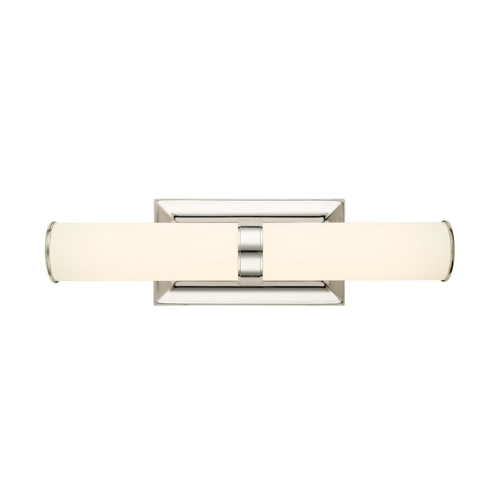 Home Decorators Collection Rolande 60-Watt Equivalent Polished Nickel  LED Vanity Light with Tube Etched Glass