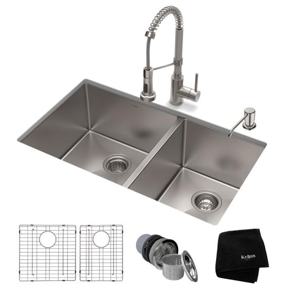 Standart PRO All-in-One Undermount Stainless Steel 33 in. Double Bowl Kitchen Sink with Faucet in Stainless Steel