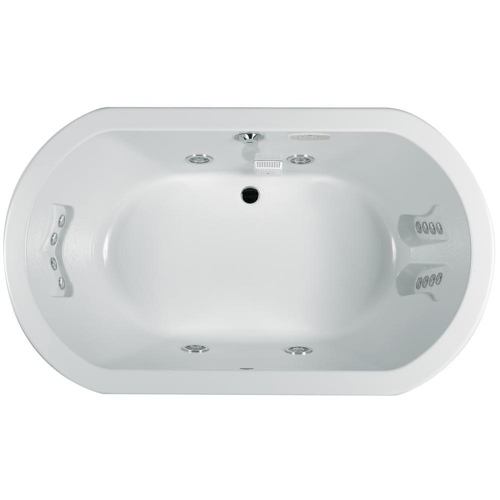 ANZA 60 in. x 42 in. Acrylic Oval Drop-in Center Drain Whirlpool Bathtub Chroma in White