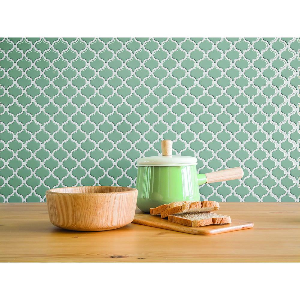 Damask Jade 10 in. W x 10 in. H Peel and Stick Self-Adhesive Decorative Mosaic Wall Tile Backsplash (10-Tiles)