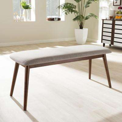 Flora Beige Fabric Upholstered Dining Bench