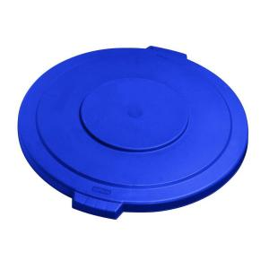 Click here to buy Carlisle Bronco 32 Gal. Blue Round Trash Can Lid (4-Pack) by Carlisle.