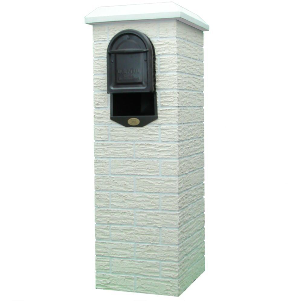 Cromwell Cream Tan Post Mount Mailbox Column