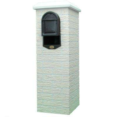 Cromwell Cream Tan Post Mount Mailbox Column