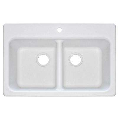 Dual Mount Composite Granite 33.in 1-Hole Double Bowl Kitchen Sink in White