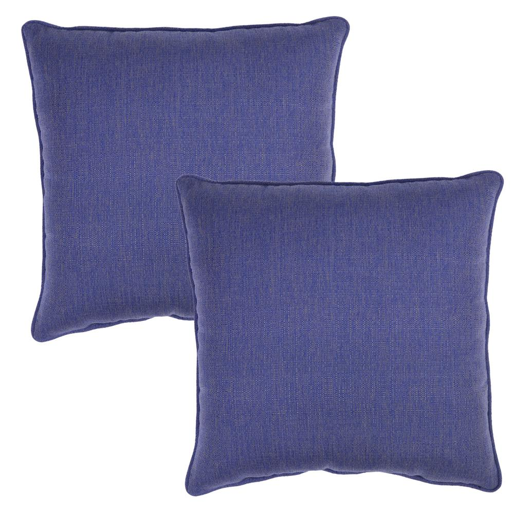 Throw Pillow Two Pack : Plantation Patterns Sky Square Outdoor Throw Pillow (2-Pack)-7379-02407400 - The Home Depot
