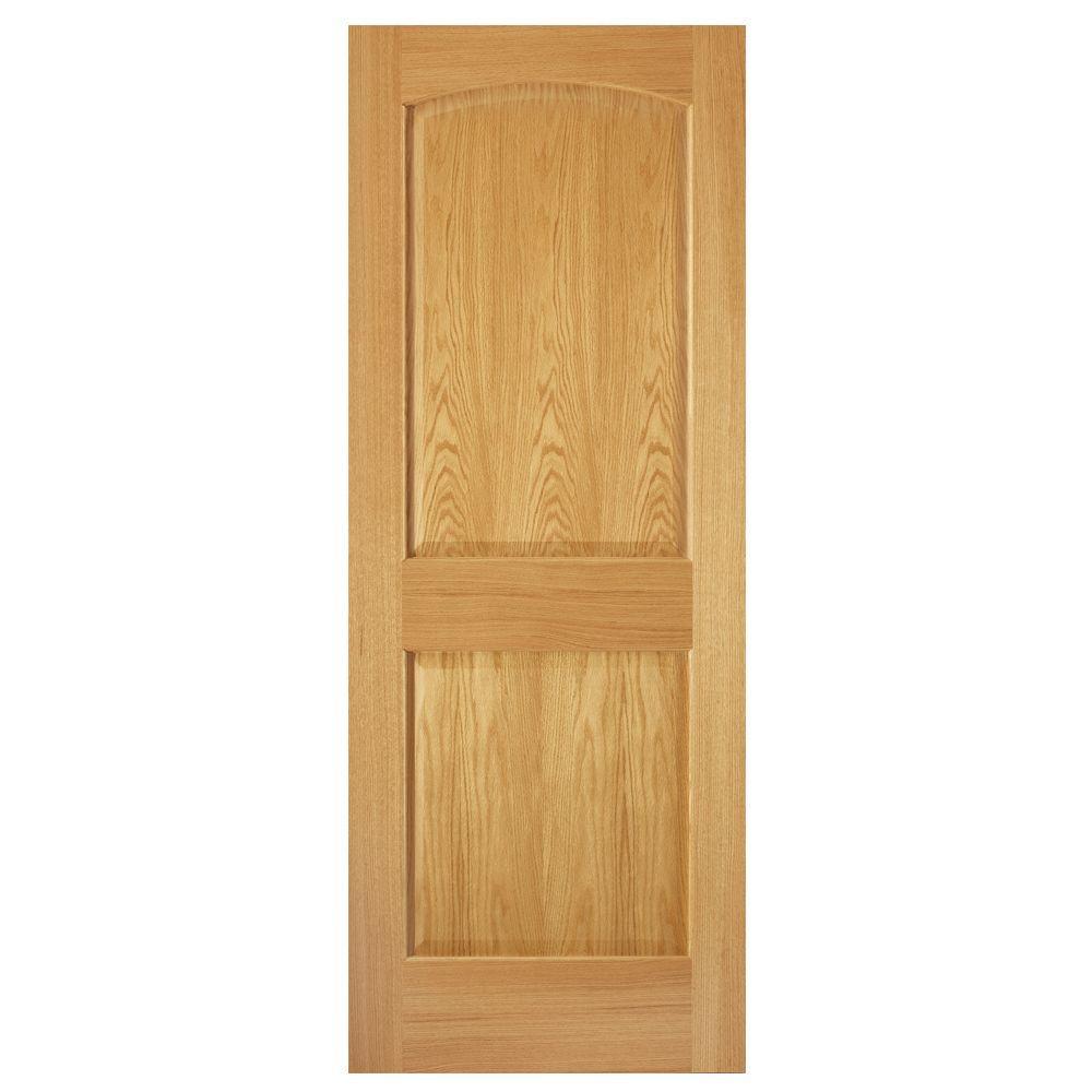 36 in. x 80 in. 2-Panel Arch Solid Core Oak Interior Door Slab