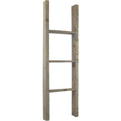 15 in. x 72 in. x 3 1/2 in. Barnwood Decor Collection Natural Barnwood Vintage Farmhouse 5-Rung Ladder