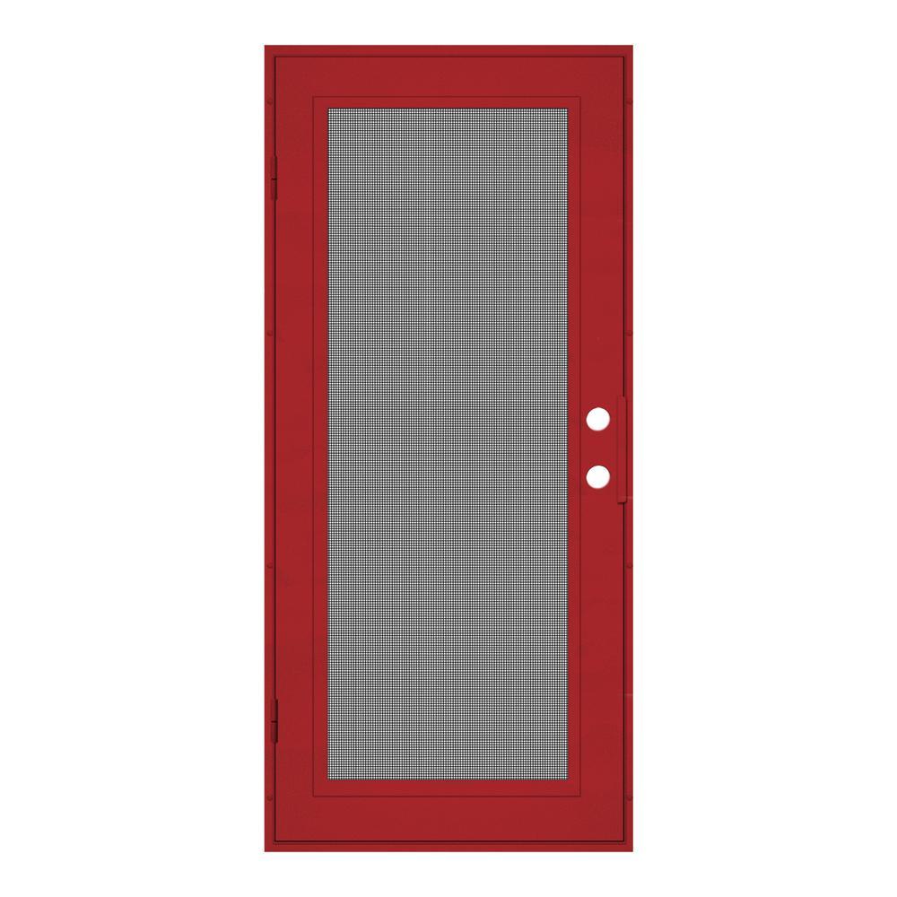 32 in. x 80 in. Full View Red Hammertone Left-Hand Surface Mount Security Door with Meshtec Screen