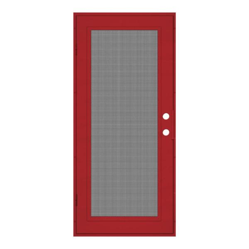 36 in. x 80 in. Full View Red Hammertone Left-Hand Surface Mount Security Door with Meshtec Screen