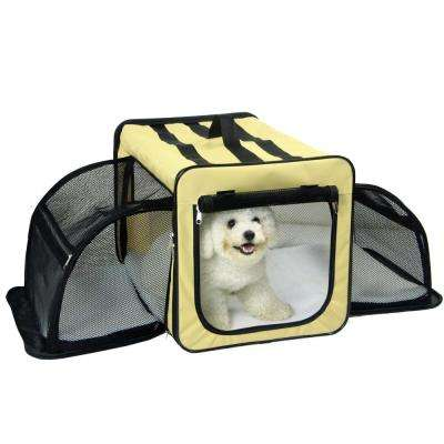 Small Khaki Capacious Dual Expandable Wire Folding Lightweight Collapsible Travel Pet Dog Crate