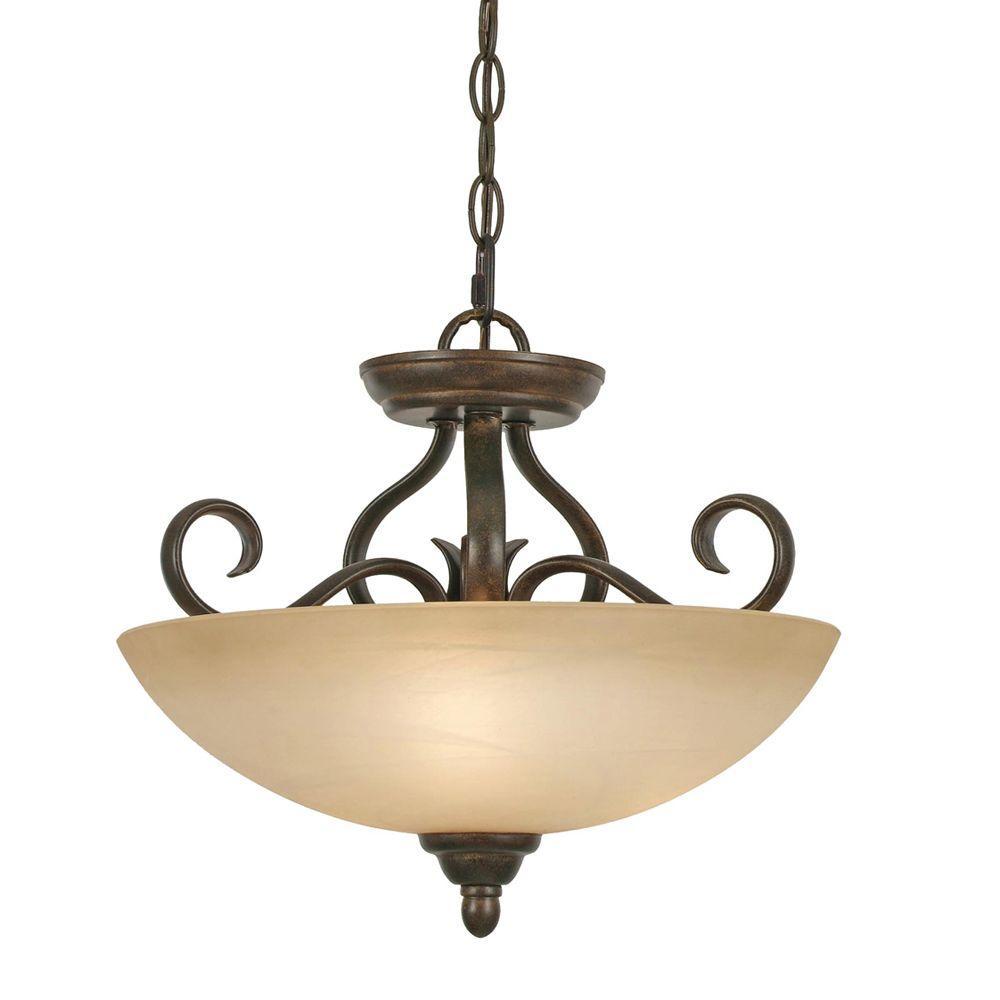 Riverton Collection 3-Light Peppercorn Semi-Flush Mount Light