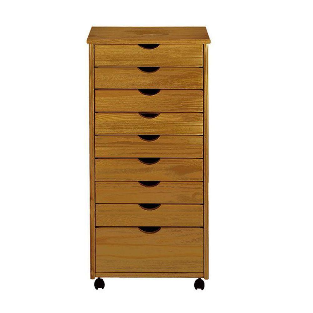 Home Decorators Collection Stanton Oak 8+1-Drawers Wide Storage Cart