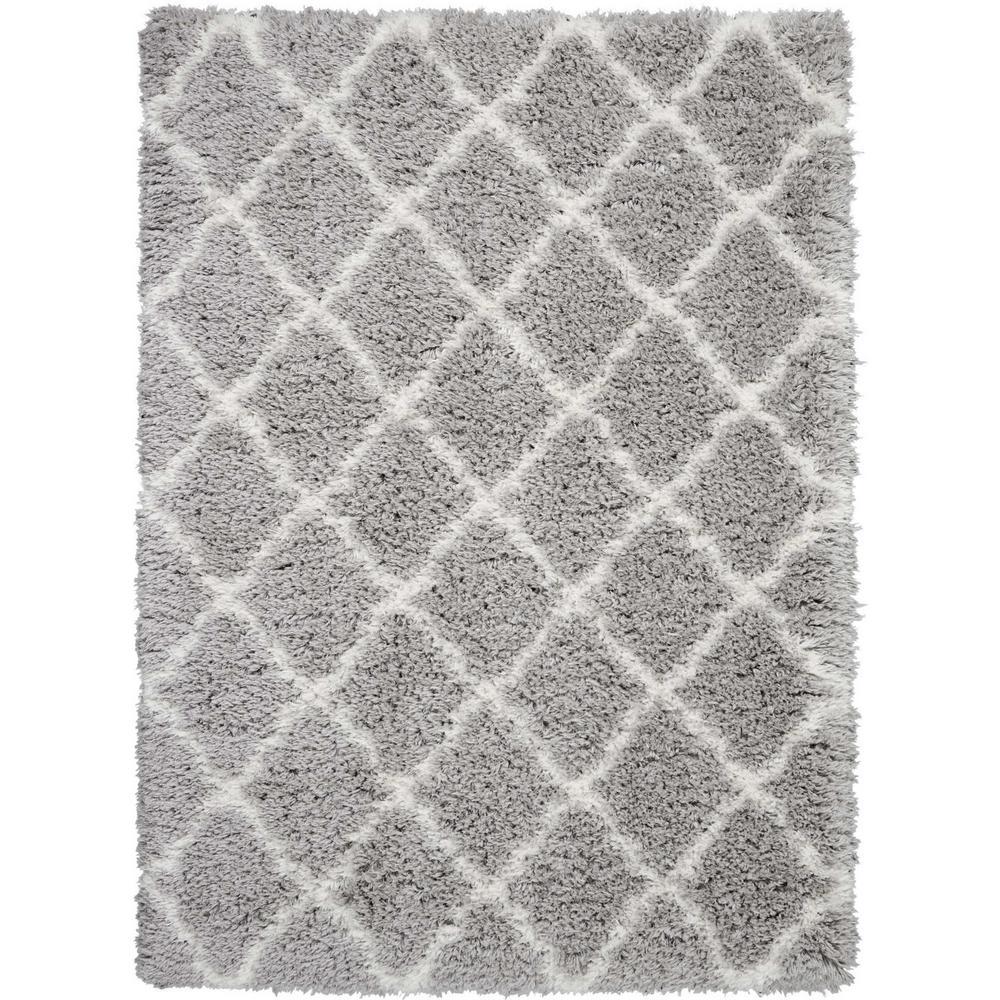 Nourison Ultra Plush Shag 5' X 7' Grey Plush Area Rug
