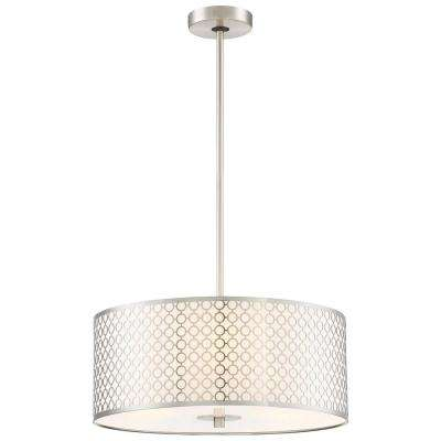 Dots 3-Light Brushed Nickel Pendant