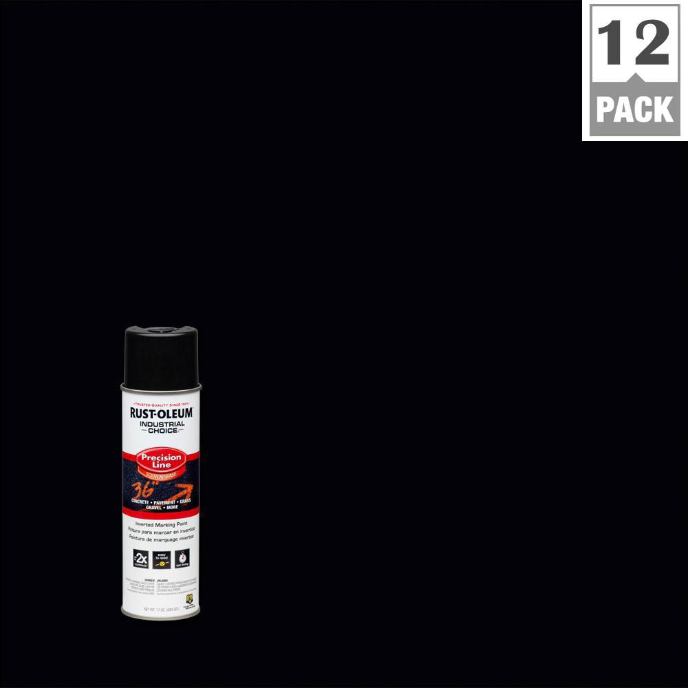 17 oz. Black Inverted Marking Spray Paint (12-Pack)