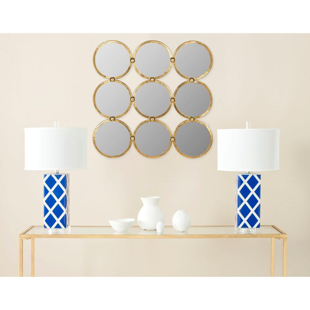 Safavieh Circles in the Square 27.5 in. x 27.5 in. Iron and Glass Framed Mirror
