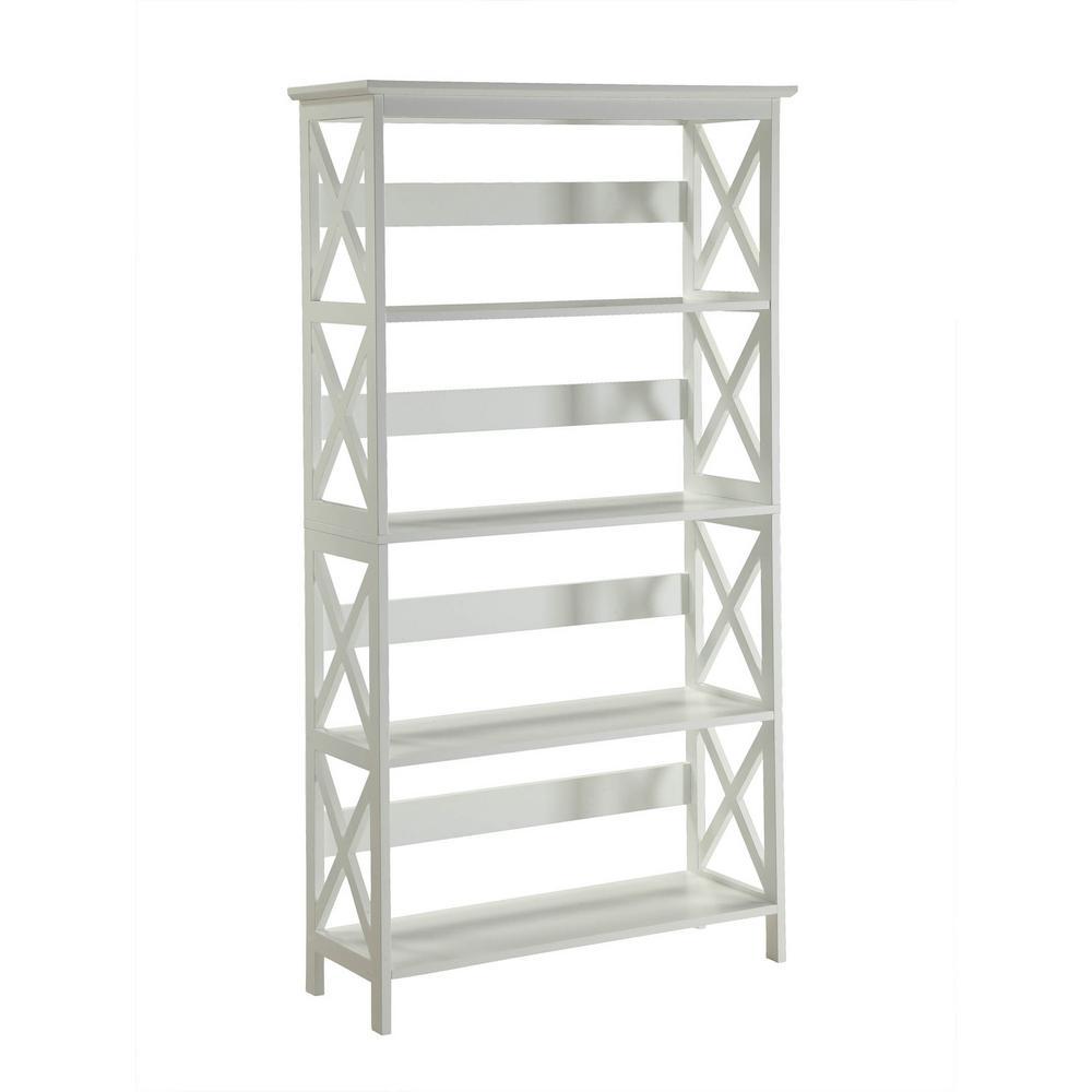 Oxford White 5 Tier Bookcase