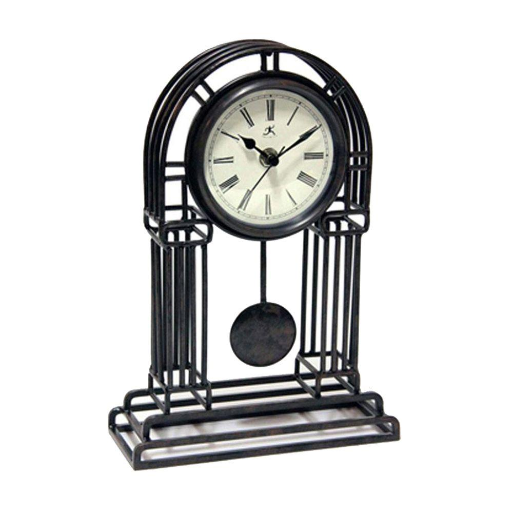 Home Decorators Collection 8 in. W Cathedral Black Metal Clock
