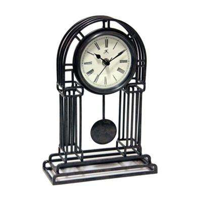 8 in. W Cathedral Black Metal Clock