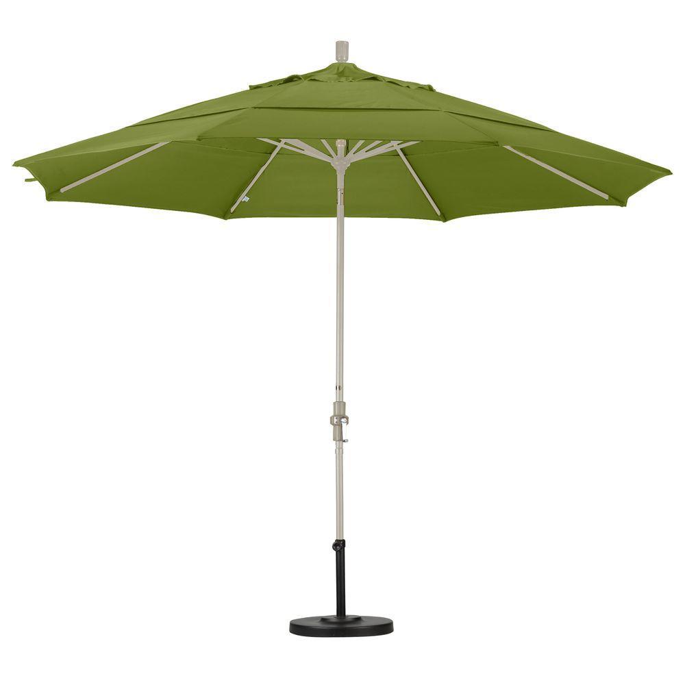 Wonderful California Umbrella 11 Ft. Aluminum Collar Tilt Double Vented Patio Umbrella  In Ginkgo Pacifica