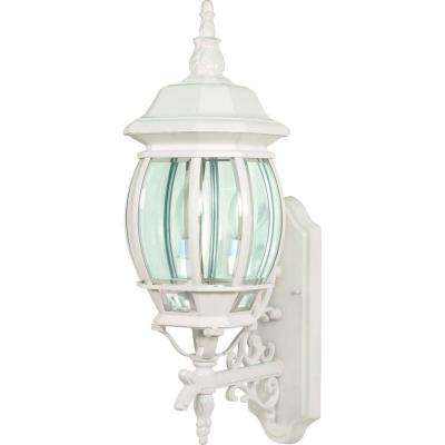 3-Light - 22 in. Wall Lantern with Clear Beveled Glass White
