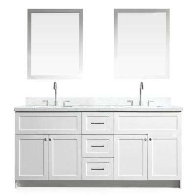 Hamlet 73 in. Bath Vanity in White with Quartz Vanity Top in White with White Basins and Mirrors