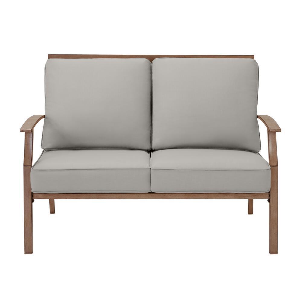 Geneva Brown Wicker Outdoor Patio Loveseat with CushionGuard Stone Gray Cushions