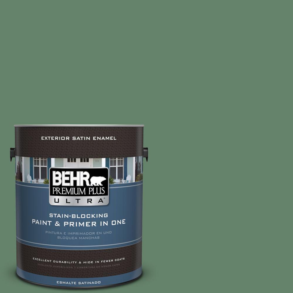 BEHR Premium Plus Ultra 1-gal. #BIC-55 Garden Greenery Satin Enamel Exterior Paint