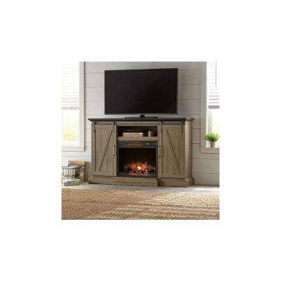 Chestnut Hill 56 in. TV Stand Electric Fireplace with Sliding Barn Door in Ash with Black Top