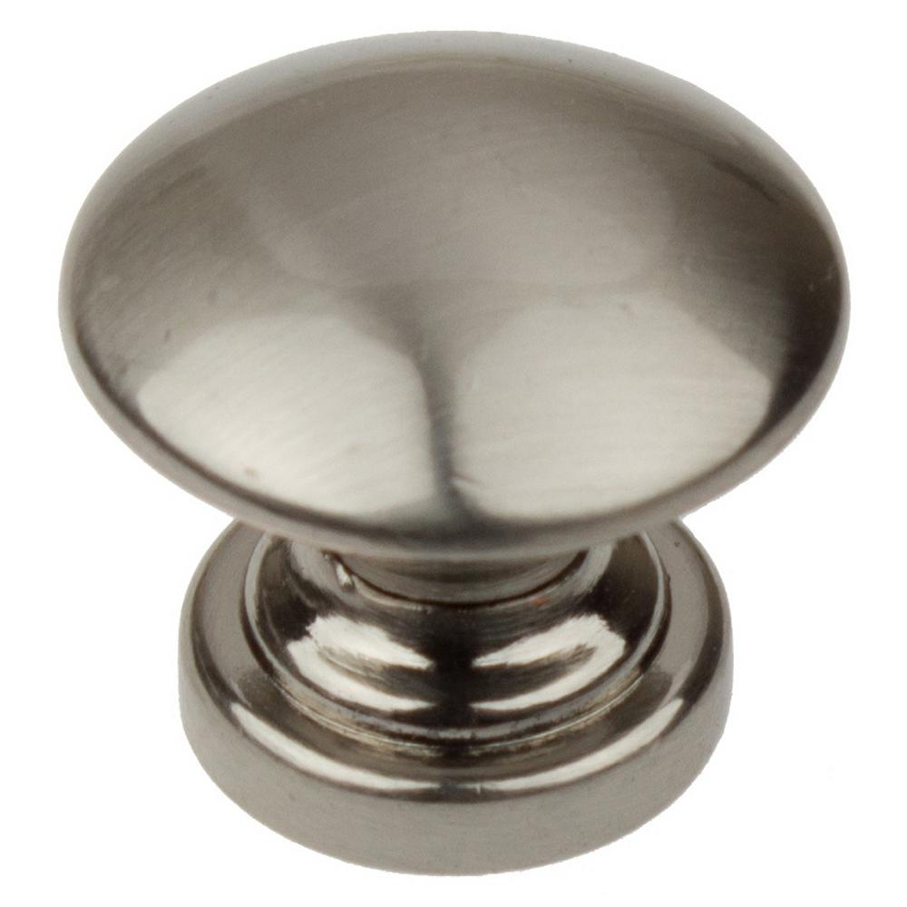 1 in. Dia Satin Nickel Round Convex Cabinet Knob (10-Pack)