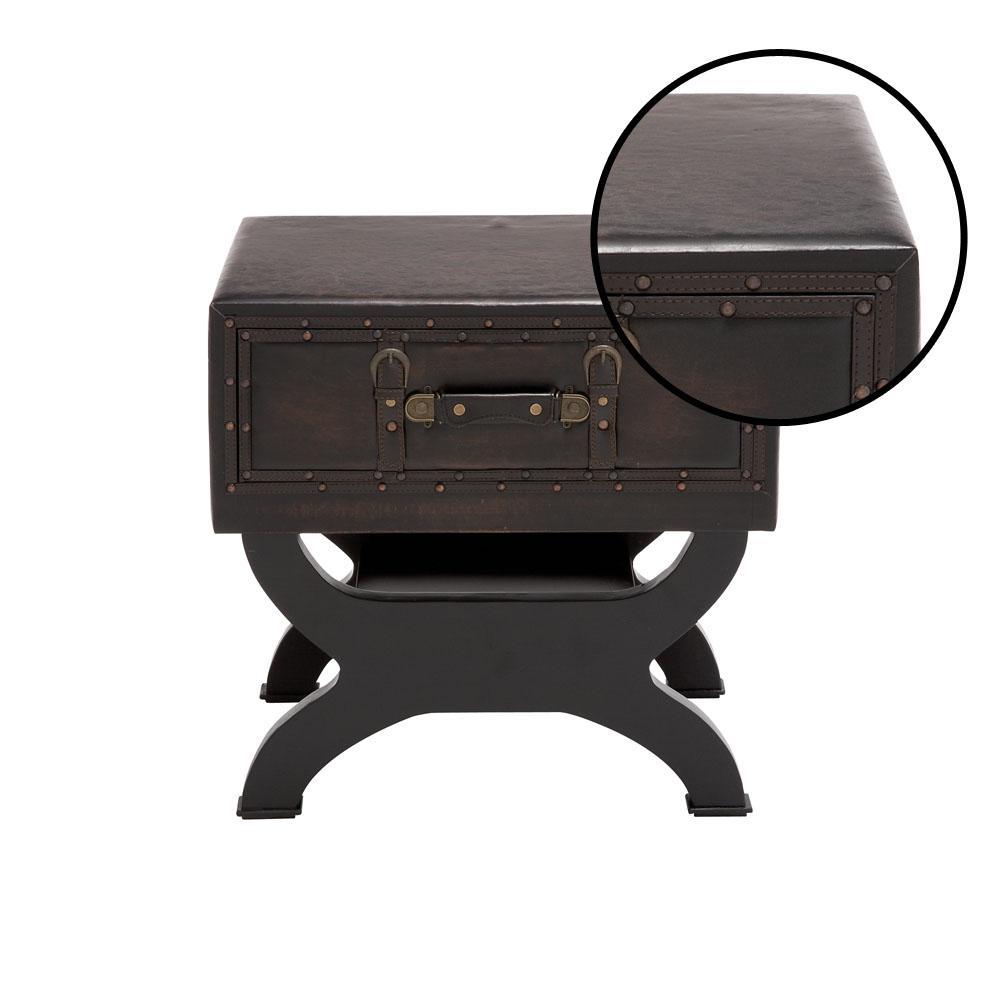 Outstanding Espresso Faux Leather Trunk End Table Machost Co Dining Chair Design Ideas Machostcouk