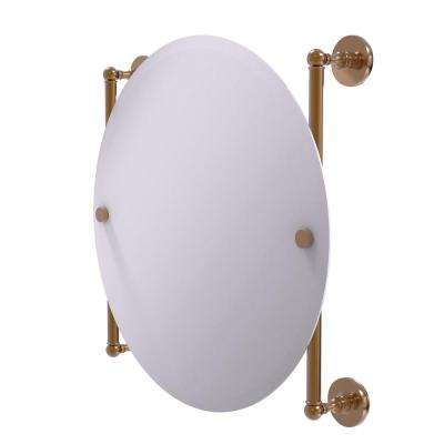 Prestige Skyline Collection Round Frameless Rail Mounted Mirror in Brushed Bronze