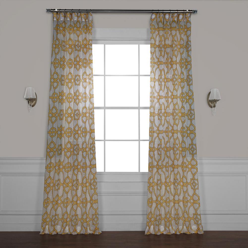 SeaGlass Yellow Printed Sheer Curtain - 50 in. W x 96 in. L