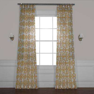 SeaGlass Yellow Printed Sheer Curtain - 50 in. W x 96 in. L