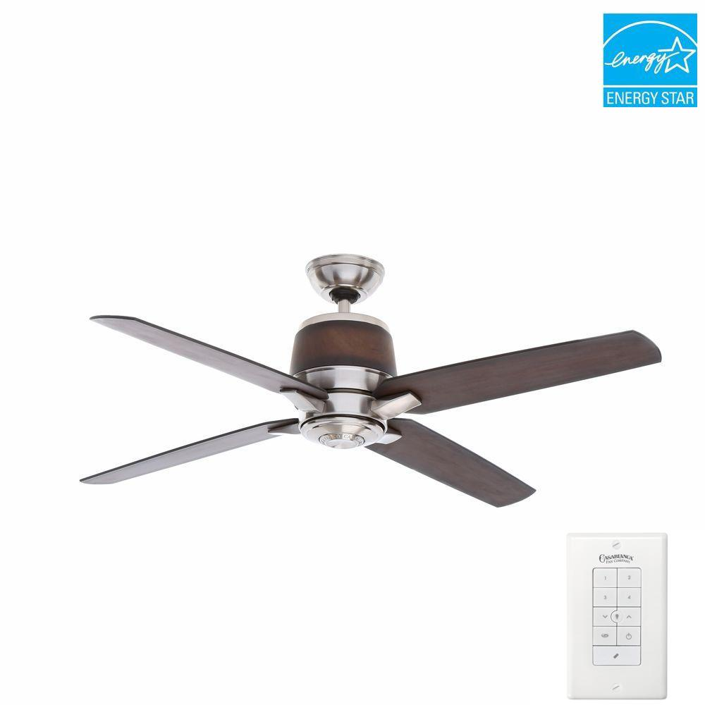 Aris 54 in. Indoor/Outdoor Brushed Nickel Ceiling Fan