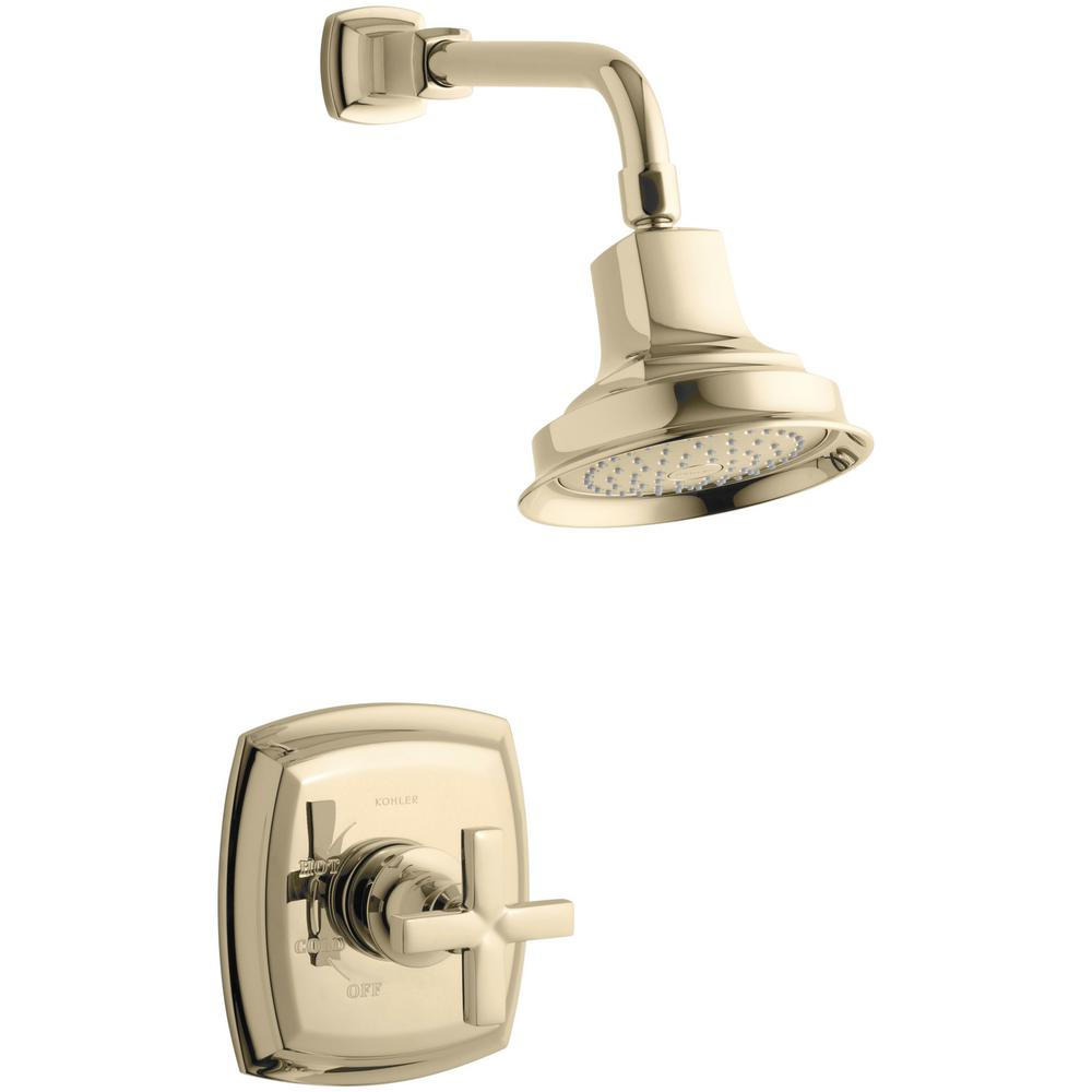 Margaux 1-Spray 6.5 in. 2.5 GPM Fixed Shower Head with Cross